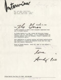 Movie/TV Memorabilia, Andy Warhol typed letter signed to Liza Minnelli....