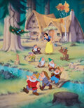 """Movie/TV Memorabilia, Ron Dias original poster art painting of """"Snow White and the 7 Dwarfs"""" commemorating the 50th anniversary of Disney's first fu..."""
