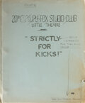 Movie/TV Memorabilia, Marilyn Monroe script for the Strictly for Kicks talent show at the 20th Century-Fox Studio Club Little Theater....