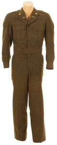 """Movie/TV Memorabilia, Frank Sinatra """"1st Lt. Sam Loggins"""" green military jacket and pants from Kings Go Forth. ..."""