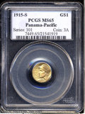 Commemorative Gold: , 1915-S G$1 Panama-Pacific Gold Dollar MS65 PCGS. Satin-to-...