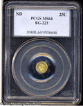 California Fractional Gold: , Undated 25C Liberty Round 25 Cents, BG-223, Low R.4, MS64 ...