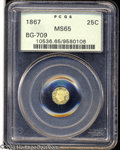California Fractional Gold: , 1867 Liberty Octagonal 25 Cents, BG-709, R.4, MS65 PCGS. ...