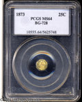 California Fractional Gold: , 1873 Liberty Octagonal 25 Cents, BG-728, R.3, MS64 PCGS. ...