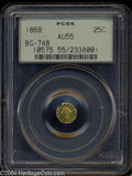 California Fractional Gold: , 1869 25C Liberty Octagonal 25 Cents, BG-748, R.5, AU55 PCGS....
