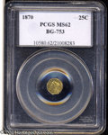 California Fractional Gold: , 1870 25C Liberty Octagonal 25 Cents, BG-753, High R.6, MS62 ...