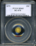California Fractional Gold: , 1875 Indian Round 25 Cents, BG-878, R.3, MS65 PCGS. ...