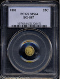 California Fractional Gold: , 1881 25C Indian Round 25 Cents, BG-887, R.3, MS64 PCGS. A ...