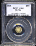 California Fractional Gold: , 1868 50C Liberty Round 50 Cents, BG-1008, R.5, MS63 PCGS. ...