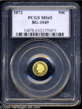 California Fractional Gold: , 1872 50C Indian Round 50 Cents, BG-1049, R4, MS65 PCGS. A ...