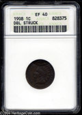 Errors: , 1908 1C Indian Cent--Double Struck--XF40 ANACS. The first ...