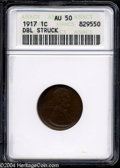 Errors: , 1917 1C Lincoln Cent--Double Struck--ANACS. The second ...