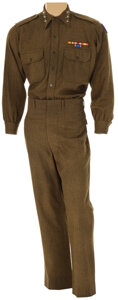 """Movie/TV Memorabilia, George C. Scott """"General George S. Patton, Jr."""" green military shirt and pants from Patton. ..."""