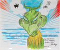 """Movie/TV Memorabilia, Tom Ray original drawing featuring """"The Grinch"""" from How the Grinch Stole Christmas!..."""