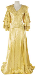 """Movie/TV Memorabilia, Jeannette MacDonald """"Marsha Mornay"""" pale yellow period gown designed by Adrian from Maytime...."""