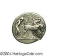 Ancients:Greek, Ancients: Sicily, Syracuse. Ca. 485-479 B.C. AR tetradrachm (24 mm,17.07 g). Charioteer driving walking quadriga right, holdingkentr...