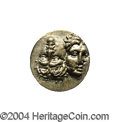 Ancients:Greek, Ancients: Moesia, Istros. Ca. 4th century B.C. AR drachm (16 mm).Two youthful male heads tete-beche, the left inverted / Sea eagleon...