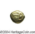 Ancients:Greek, Ancients: Lydian Kingdom. Before 561 B.C. EL sixth stater or trite(12 mm, 4.68 g). Head of roaring lion right, knob on forehead /Bip...