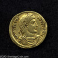 Ancients:Roman, Ancients: Valentinian I. A.D. 364-375. AV solidus (mm, g). Antioch,A.D. 366-367. Diademed, draped and cuirassed bust right /Valentin...