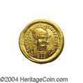 Ancients:Roman, Ancients: Theodosius II. A.D. 408-450. AV solidus (21 mm, 4.48 g).Constantinople, A.D. 408-419. Diademed, helmeted and cuirassedbust...