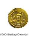 Ancients:Byzantine, Ancients: Maurice Tiberius. A.D. 582-602. AV solidus (21 mm, 4.36g). Constantinople, A.D. 583-601. Helmeted and cuirassed facingbust...