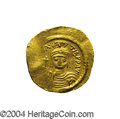Ancients:Byzantine, Ancients: Maurice Tiberius. A.D. 582-602. AV solidus (21 mm, 4.37g). Constantinople, A.D. 583-601. Helmeted and cuirassed facingbust...