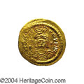 Ancients:Byzantine, Ancients: Maurice Tiberius. A.D. 582-602. AV light weight solidus(21 mm, 4.32 g). Constantinople, A.D. 583-601. Helmeted andcuirasse...