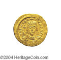 Ancients:Byzantine, Ancients: Phocas. A.D. 602-610. AV solidus (21 mm, 4.47 g).Constantinople, A.D. 603-607. Crowned facing bust, holding cross /Angel s...