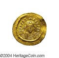 Ancients:Byzantine, Ancients: Phocas. A.D. 602-610. AV solidus (23 mm, 4.47 g).Constantinople, A.D. 603-607. Crowned facing bust, holding cross /Angel s...