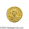 Ancients:Byzantine, Ancients: Phocas. A.D. 602-610. AV solidus (21 mm, 4.35 g).Constantinople, A.D. 603-607. Crowned facing bust, holding cross /Angel s...