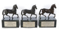 """Movie/TV Memorabilia, Breeders' Cup (3) trophies from Hall of Fame Jockey Jose Santos - for horses """"Manila"""", """"Meadow Star"""", and """"Volponi""""...."""