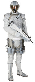 """Movie/TV Memorabilia, """"Peacekeeper"""" complete uniform with prop handgun and rifle from The Hunger Games: Catching Fire...."""