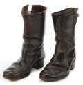 Movie/TV Memorabilia, James Dean worn and weathered motorcycle boots....