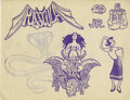 """Movie/TV Memorabilia, (2) Original drawings for Frederic Forrest """"Chef Hicks"""" tattoos from Apocalypse Now. ..."""