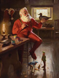 Movie/TV Memorabilia, Tom Browning illustration painting of Santa Claus at his workshop entitled, Personal Touch....