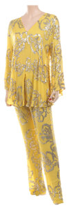 Movie/TV Memorabilia, Liza Minnelli sheer yellow with gold sequin pattern ensemble by Halston worn on The Muppet Show....