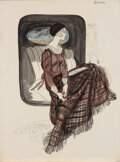 """Movie/TV Memorabilia, Faye Dunaway """"Bonnie"""" original character and costume concept sketch from Bonnie and Clyde...."""
