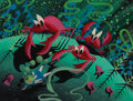 """Movie/TV Memorabilia, Mary Blair concept painting of """"Alice"""" and crabs from Alice in Wonderland...."""