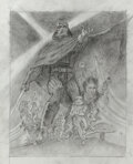 """Movie/TV Memorabilia, Tom Jung concept sketch for The Empire Strikes Back created to include Harrison Ford as """"Han Solo""""...."""