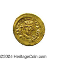 Ancients:Byzantine, Ancients: Phocas. A.D. 602-610. AV solidus (21 mm, 4.46 g).Constantinople, A.D. 603-607. Crowned facing bust, holding cross /Angel s...