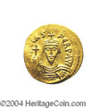 Ancients:Byzantine, Ancients: Phocas. A.D. 602-610. AV solidus (21 mm, 4.48 g).Constantinople, A.D. 607-610. Crowned facing bust, holding cross /Angel s...