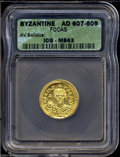 Ancients:Roman, Ancients: Phocas. A.D. 602-610. AV solidus (20 mm). Constantinople,A.D. 607-610. Crowned facing bust, holding cross / Angel standing...