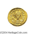 Ancients:Byzantine, Ancients: Phocas. A.D. 602-610. AV solidus (21 mm, 4.49 g).Constantinople, A.D. 607-610. Crowned facing bust, holding cross /Angel s...