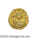 Ancients:Byzantine, Ancients: Phocas. A.D. 602-610. AV solidus (20 mm, 4.43 g).Constantinople, A.D. 607-610. Crowned facing bust, holding cross /Angel s...