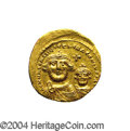 Ancients:Byzantine, Ancients: Heraclius. A.D. 610-641. AV solidus (21 mm, 4.32 g).Constantinople, ca. A.D. 616-ca. 625. Facing busts of Heraclius andHer...