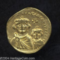 Ancients:Byzantine, Ancients: Heraclius. A.D. 610-641. AV solidus (20 mm, 4.21 g).Constantinople, ca. A.D. 616-ca. 625. Facing busts of Heraclius andHer...
