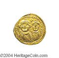 Ancients:Byzantine, Ancients: Heraclius. A.D. 610-641. AV solidus (20 mm, 4.47 g).Constantinople, ca. A.D. 626-629. Facing busts of Heraclius andHeracli...