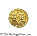 Ancients:Byzantine, Ancients: Heraclius. A.D. 610-641. AV solidus (20 mm, 4.43 g).Constantinople, A.D. 629-631. Facing busts of Heraclius andHeraclius C...