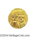 Ancients:Byzantine, Ancients: Heraclius. A.D. 610-641. AV solidus (20 mm, 4.51 g).Constantinople, A.D. 629-631. Facing busts of Heraclius andHeraclius C...