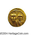 Ancients:Byzantine, Ancients: Heraclius. A.D. 610-641. AV solidus (19 mm, 4.49 g).Constantinople, A.D. 629-631. Facing busts of Heraclius andHeraclius C...